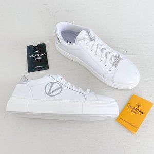 Mario Valentino Size 7.5 Petra Platform Sneakers White Leather Low Top Lace Up
